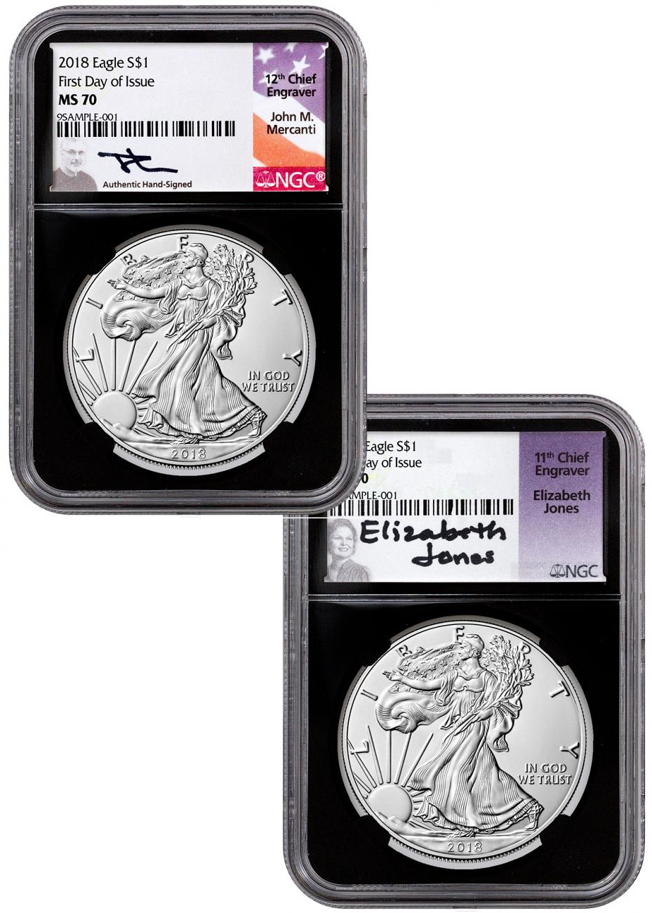 Set of 2 - 2018 American Silver Eagle NGC MS70 FDI Black Core Holder Mercanti + Jones Signed Labels