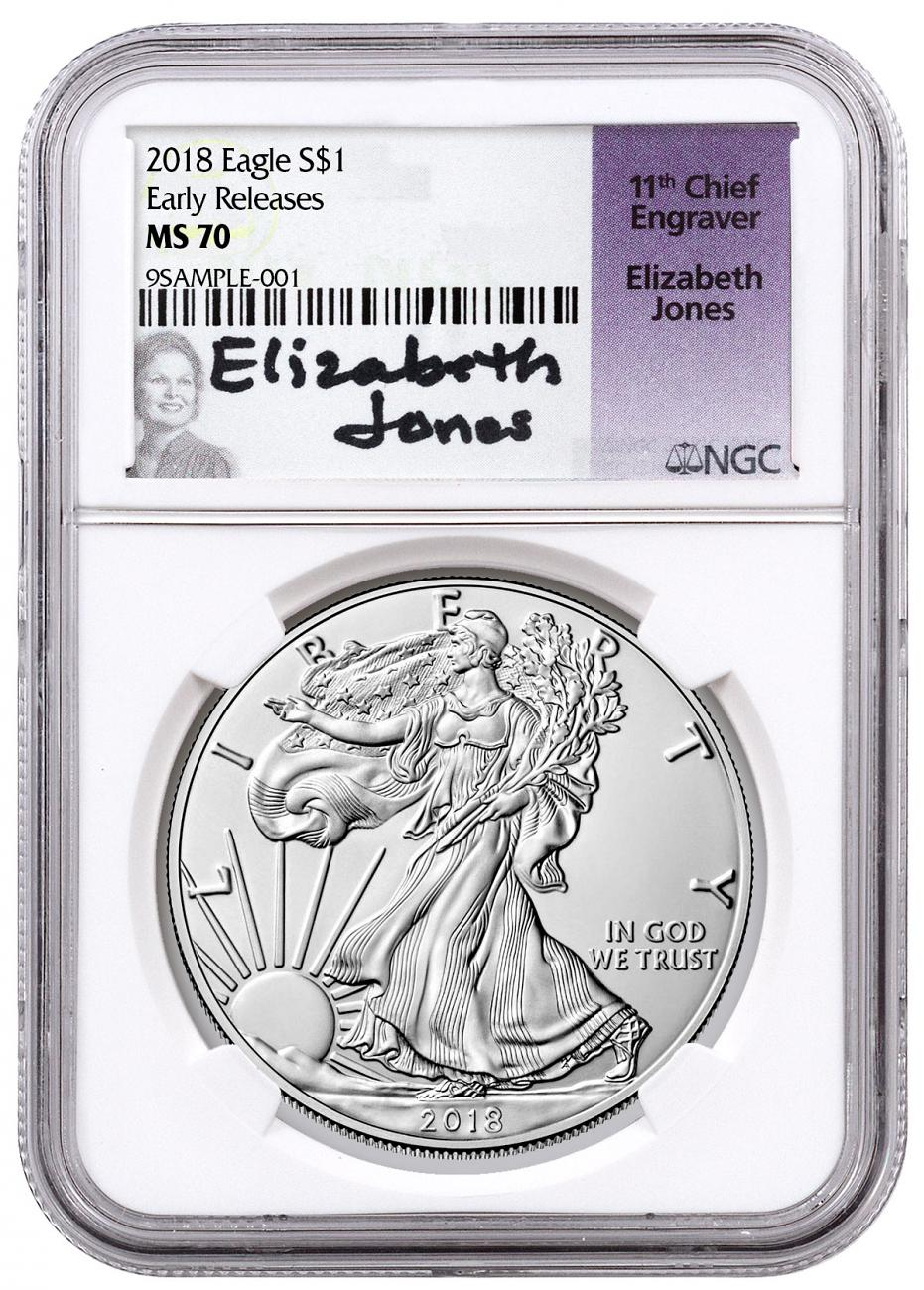 2018 $1 1 oz Silver American Eagle NGC MS70 ER Jones Signed Label