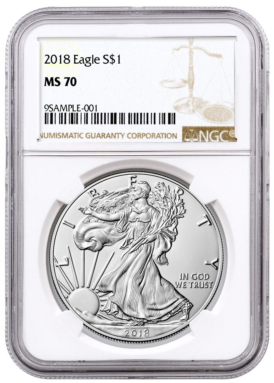 2018 American Silver Eagle NGC MS70 Brown Label