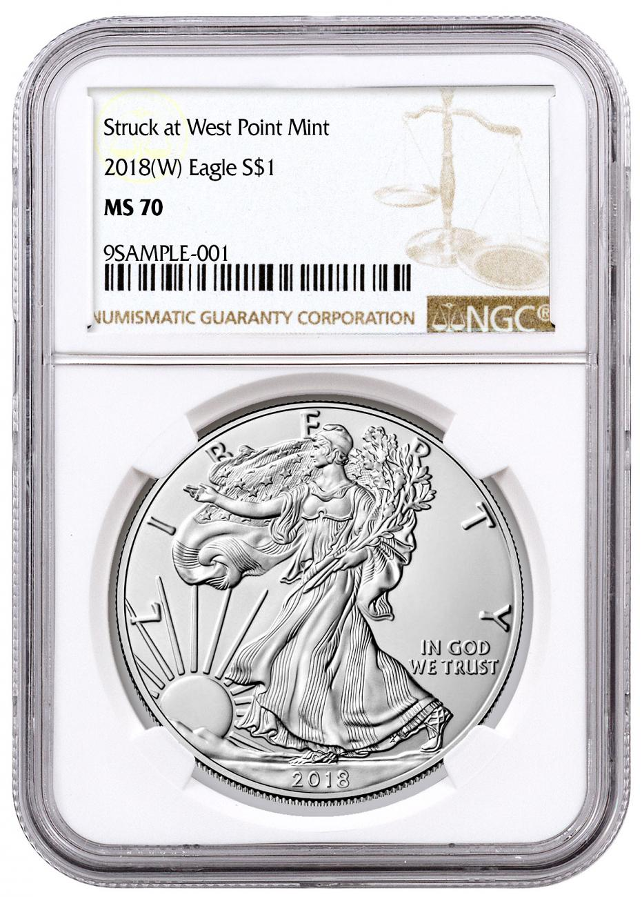 2018-(W) American Silver Eagle Struck at West Point NGC MS70 Brown Label