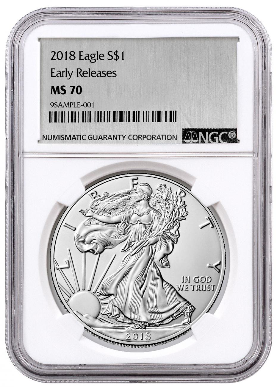 2018 American Silver Eagle NGC MS70 ER Silver Foil Label