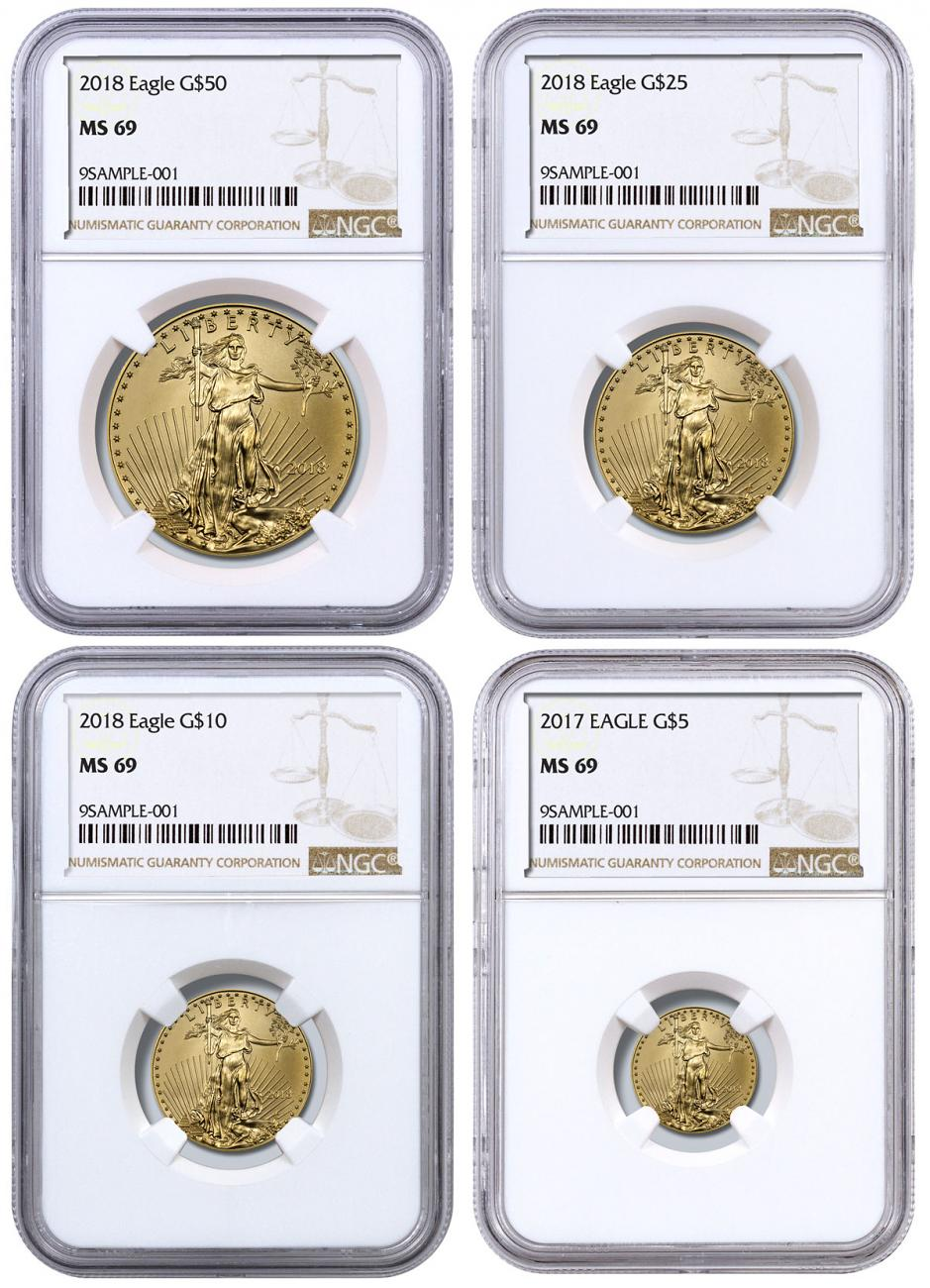 2018 Gold American Eagle 4-Coin Set NGC MS69