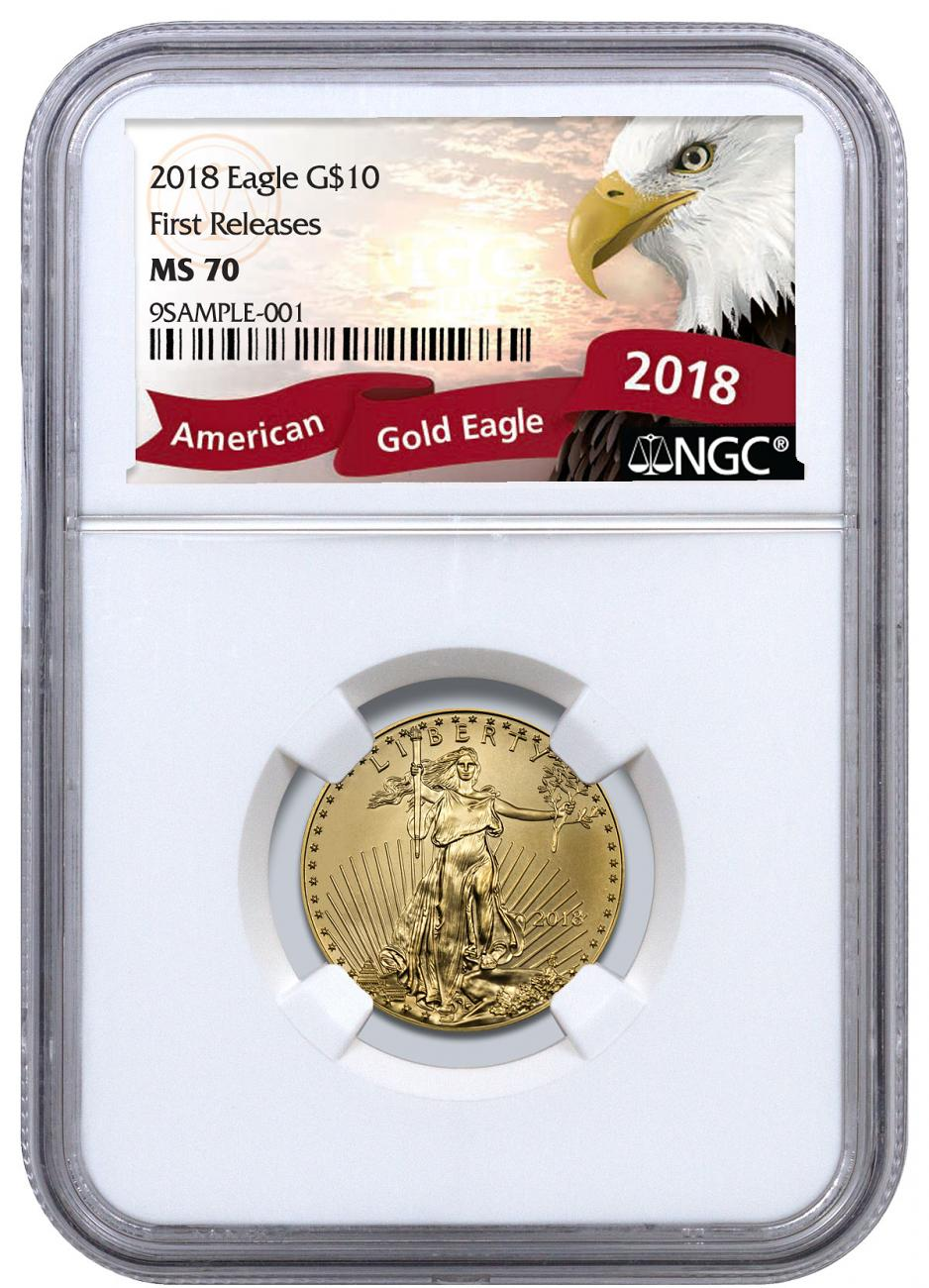 2018 1/4 oz Gold American Eagle $10 NGC MS70 FR Exclusive Eagle Label