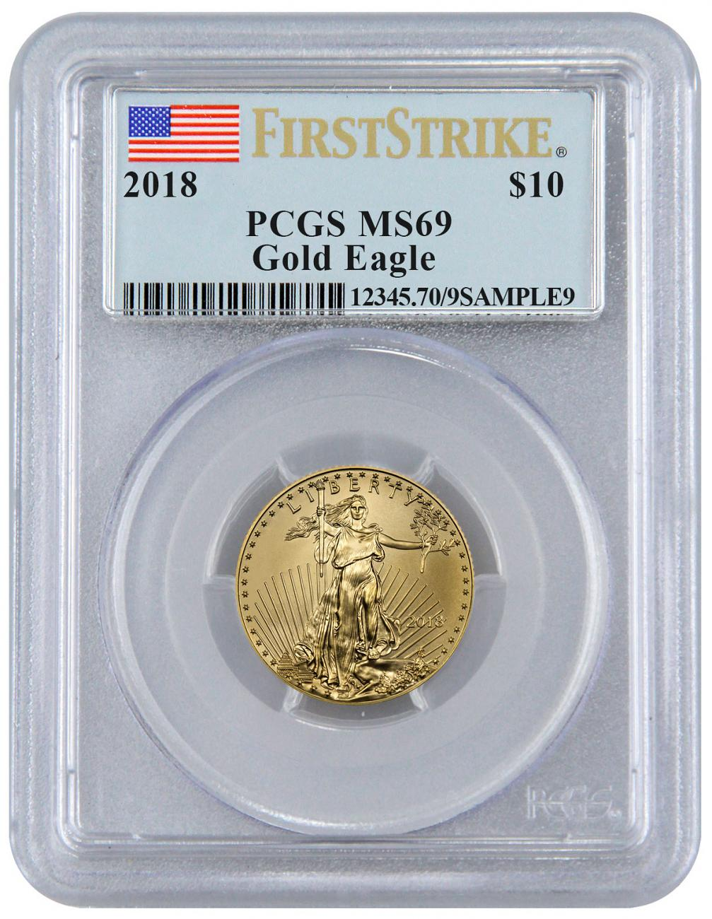 2018 1/4 oz Gold American Eagle $10 PCGS MS69 FS Flag Label