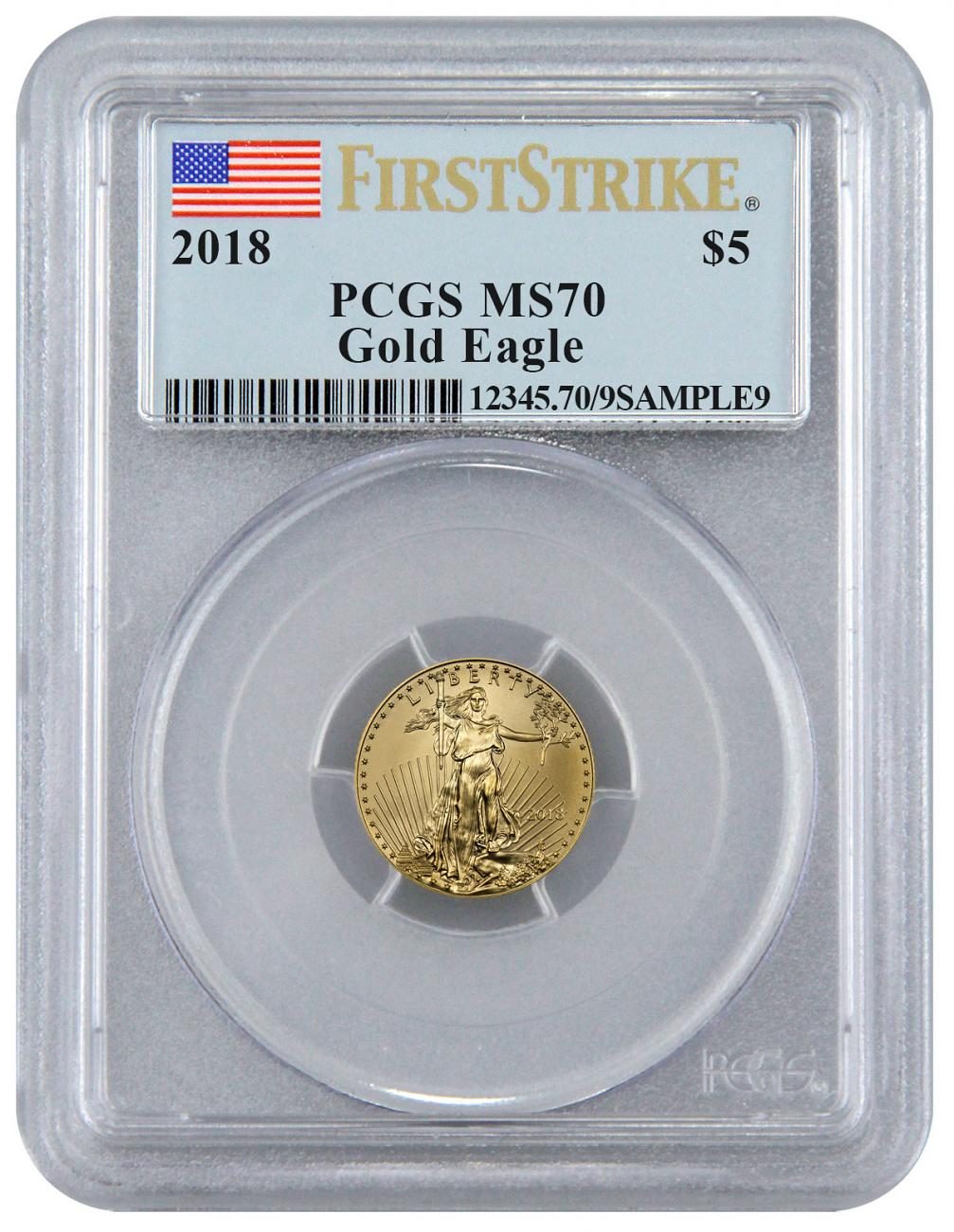 2018 1/10 oz Gold American Eagle $5 PCGS MS70 FS Flag Label