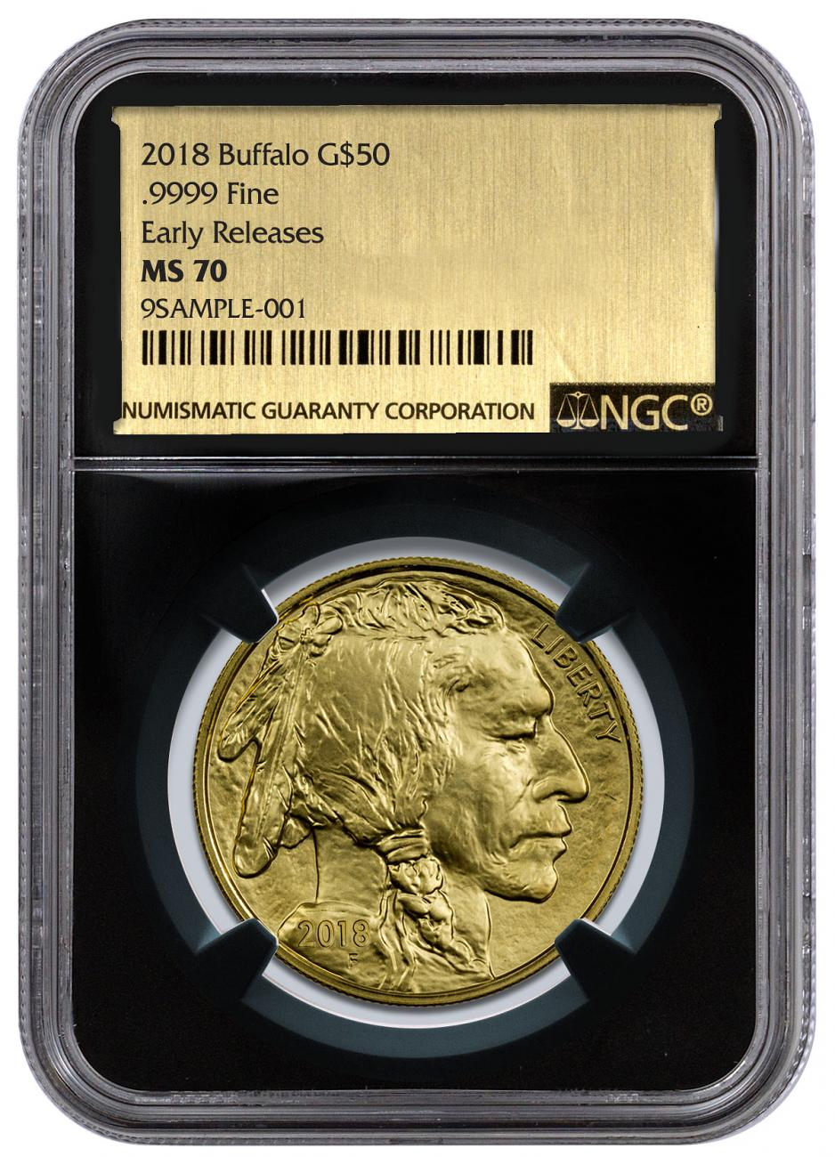 2018 1 oz Gold Buffalo $50 Coin NGC MS70 ER Black Core Holder Exclusive Gold Foil Label