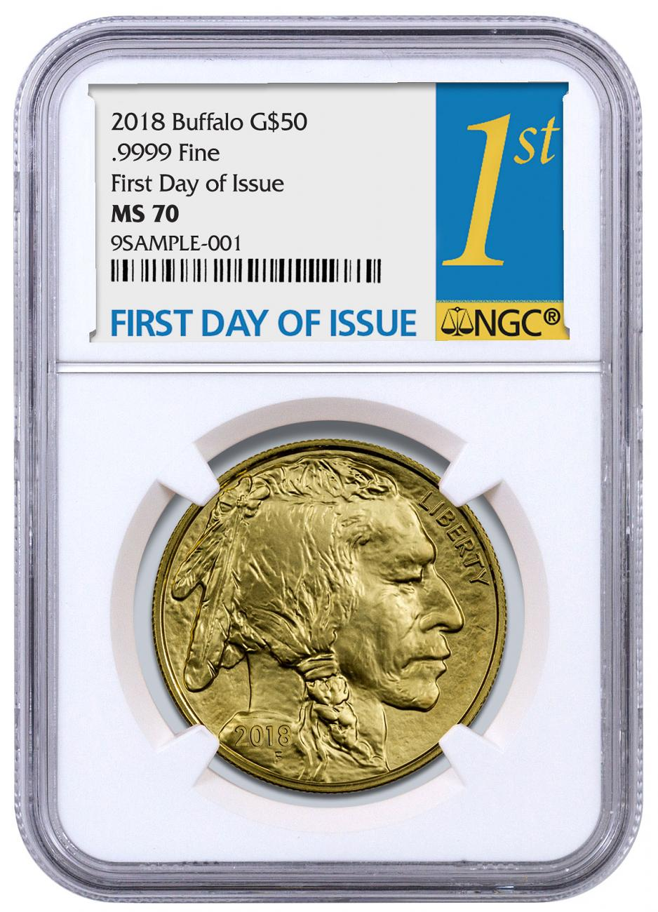 2018 1 oz Gold Buffalo $50 Coin NGC MS70 FDI