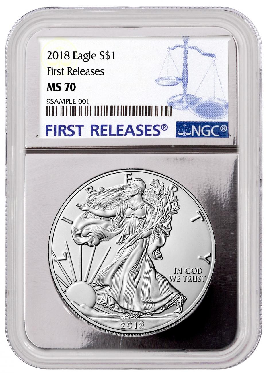 2018 American Silver Eagle NGC MS70 FR Silver Core Holder