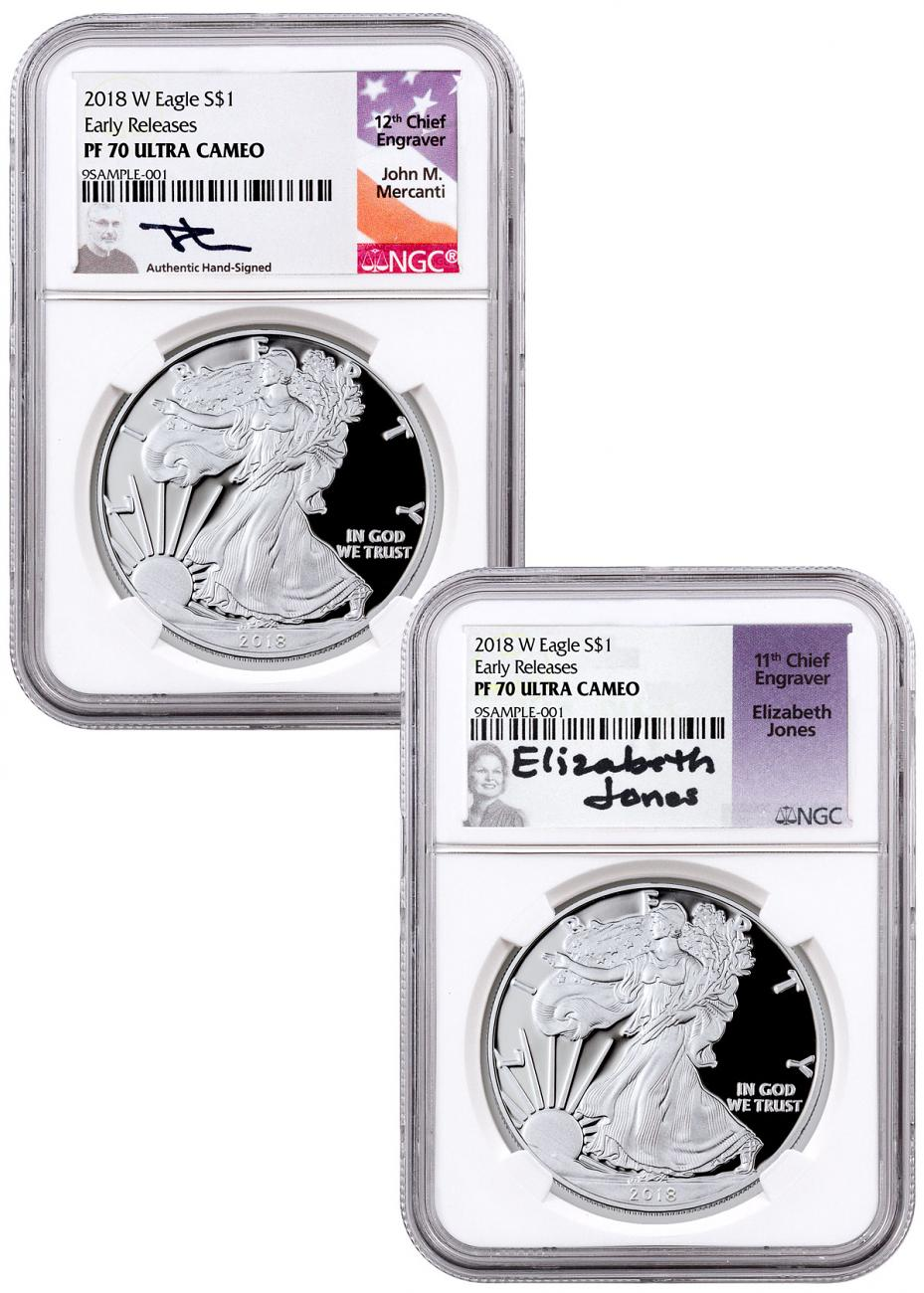 2-Coin Set - 2018-W Proof American Silver Eagle NGC PF70 UC ER Mercanti & Jones Signed Labels