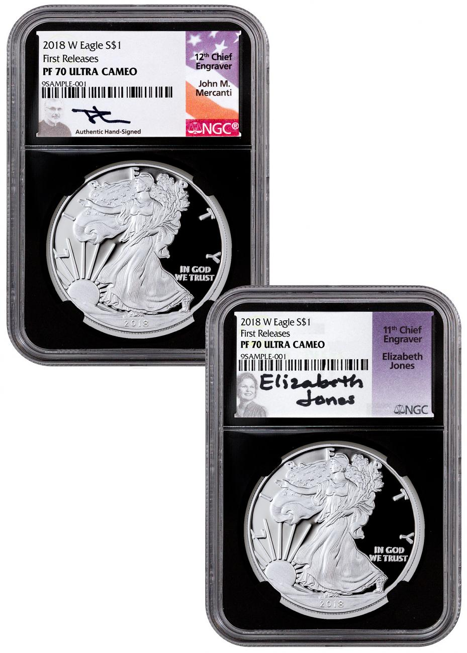2-Coin Set - 2018-W Proof American Silver Eagle NGC PF70 UC FR Black Core Holder Mercanti & Jones Signed Labels