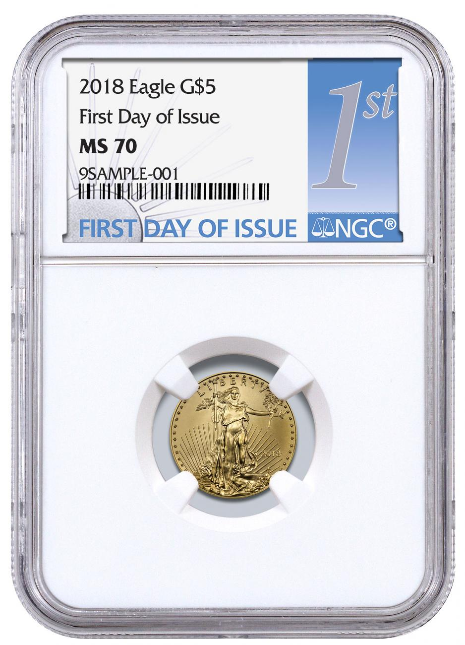 2018 1/10 oz Gold American Eagle $5 NGC MS70 FDI