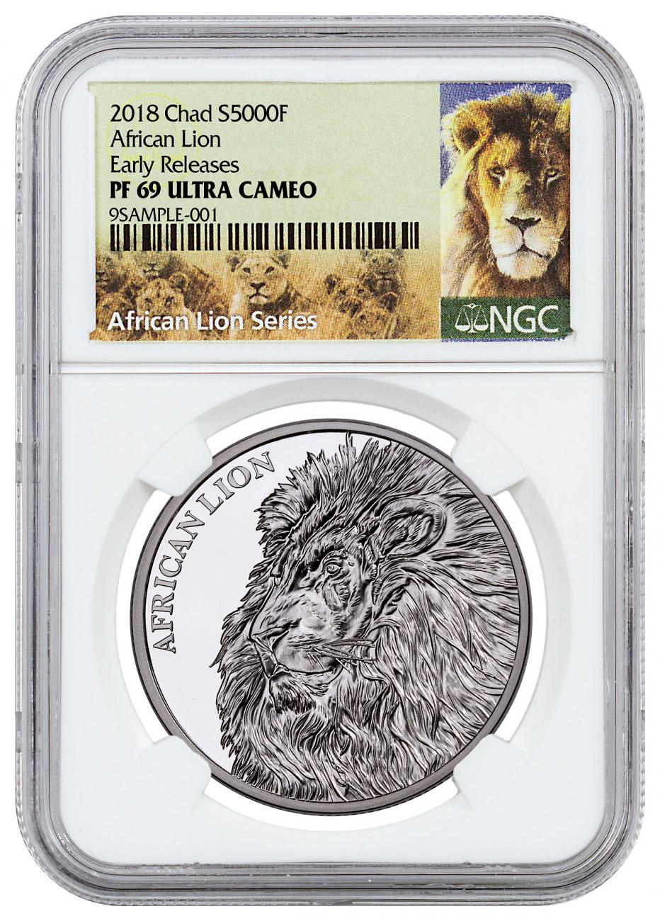 2018 Republic of Chad African Lion 1 oz Silver Proof Fr5,000 Coin NGC PF69 UC ER Exclusive Lion Label