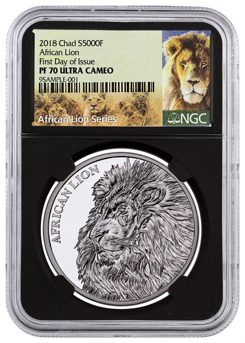 2018 Republic of Chad African Lion 1 oz Silver Proof Fr5,000 Coin NGC PF70 UC FDI Black Core Holder Exclusive Lion Label