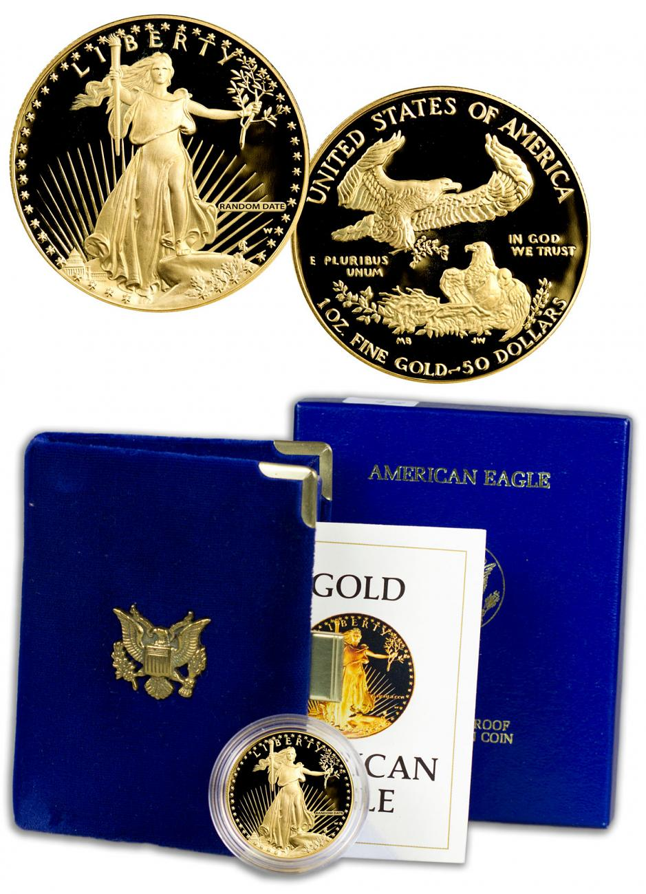 Random Date 1 oz Gold American Eagle Proof $50 GEM Proof OGP