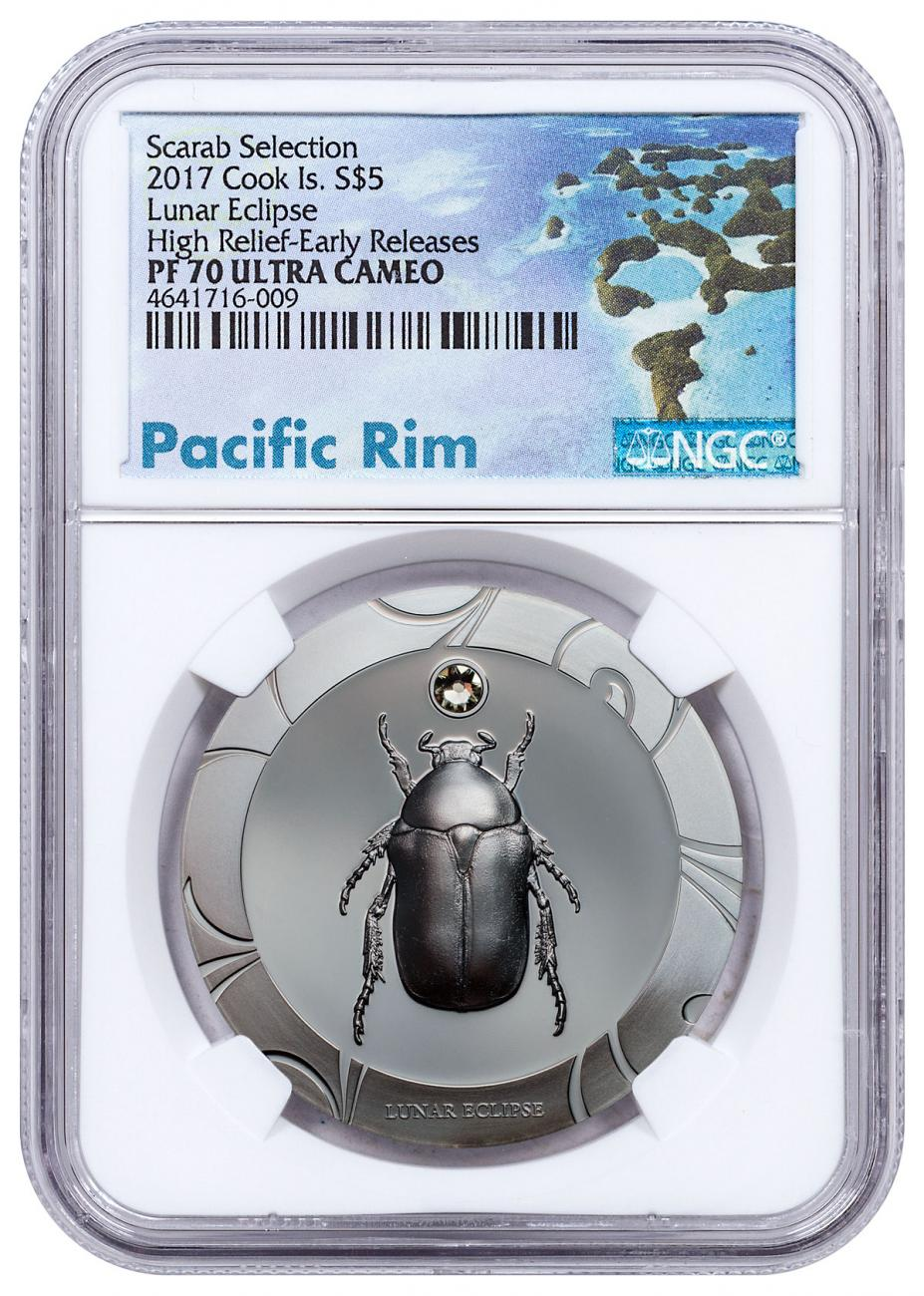 2017 Cook Islands Scarab Beetle Selection II - Lunar Eclipse High Relief 1 oz Silver Proof $5 Coin NGC PF70 UC Exclusive Pacific Rim Label