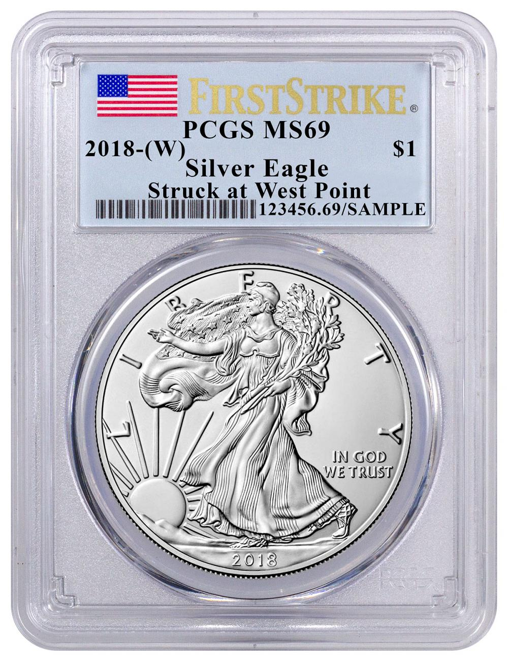 2018-(W) American Silver Eagle Struck at West Point PCGS MS69 FS Flag Label