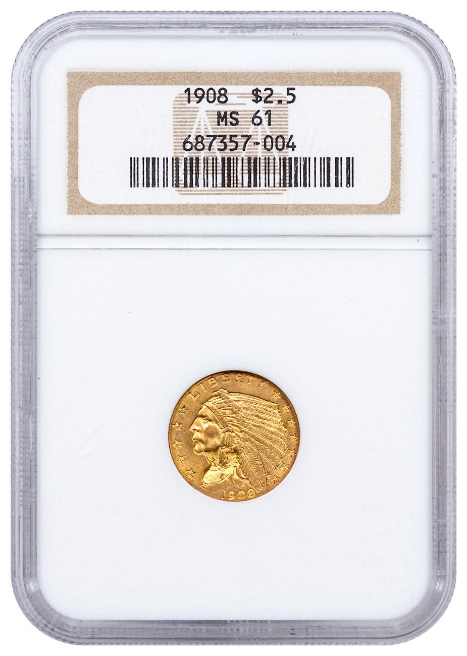 1908 Indian Head $2.5 Gold Quarter Eagles NGC MS61