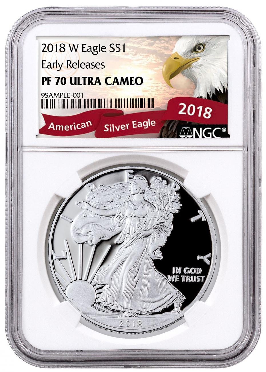 2018-W Proof American Silver Eagle NGC PF70 UC ER Exclusive Eagle Label