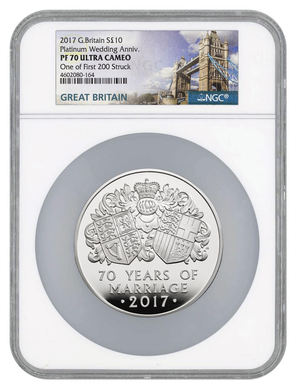 2017 Great Britain 70th Wedding Anniversary 5 oz Silver Proof £10 Coin Scarce and Unique Coin Division NGC PF70 UC One of First 200 Struck Great Britain Label