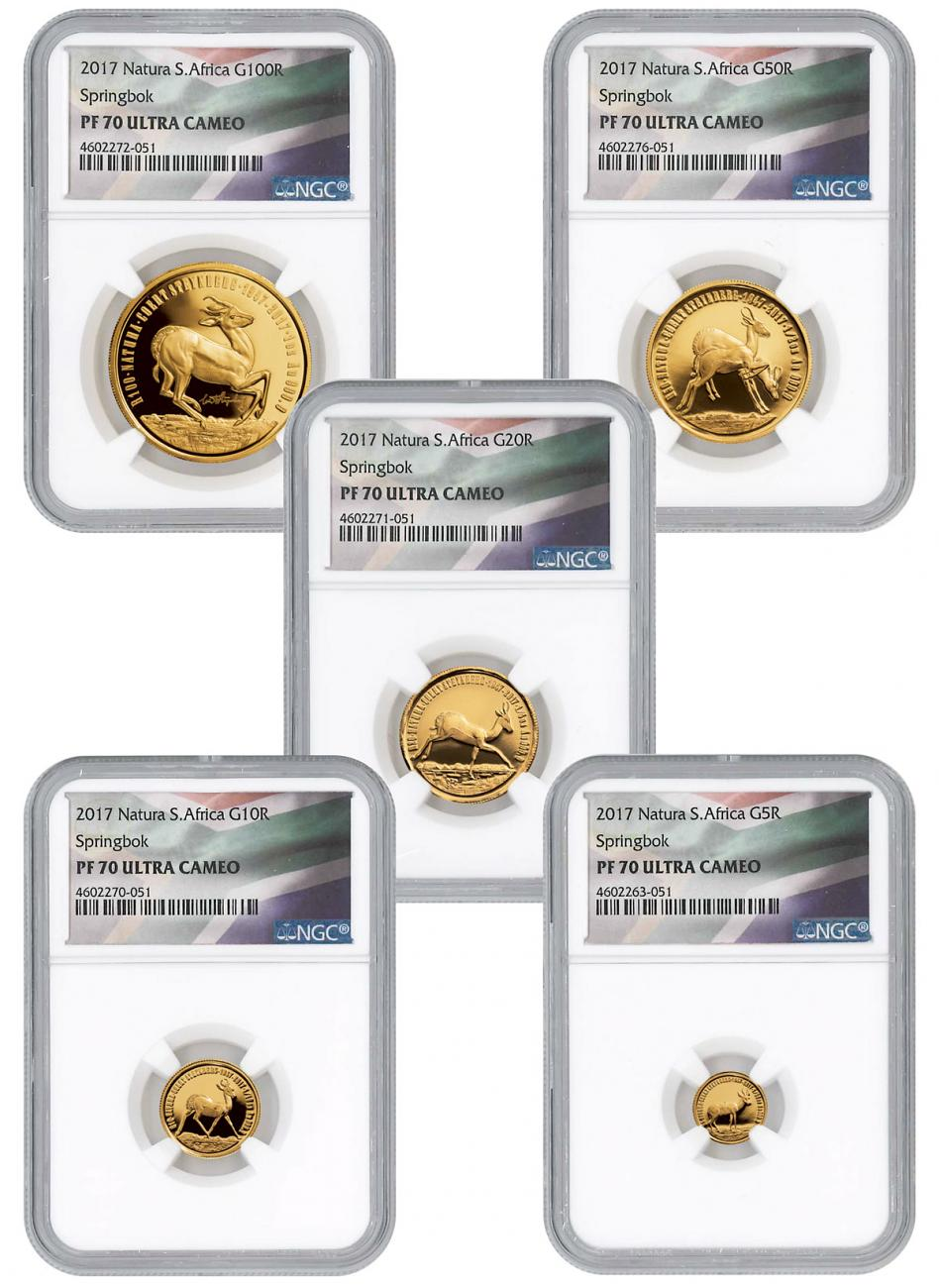 2017 South Africa Natura - Springbok Antelope 5-Coin Set Gold Proof Coin Scarce and Unique Coin Division NGC PF70 UC