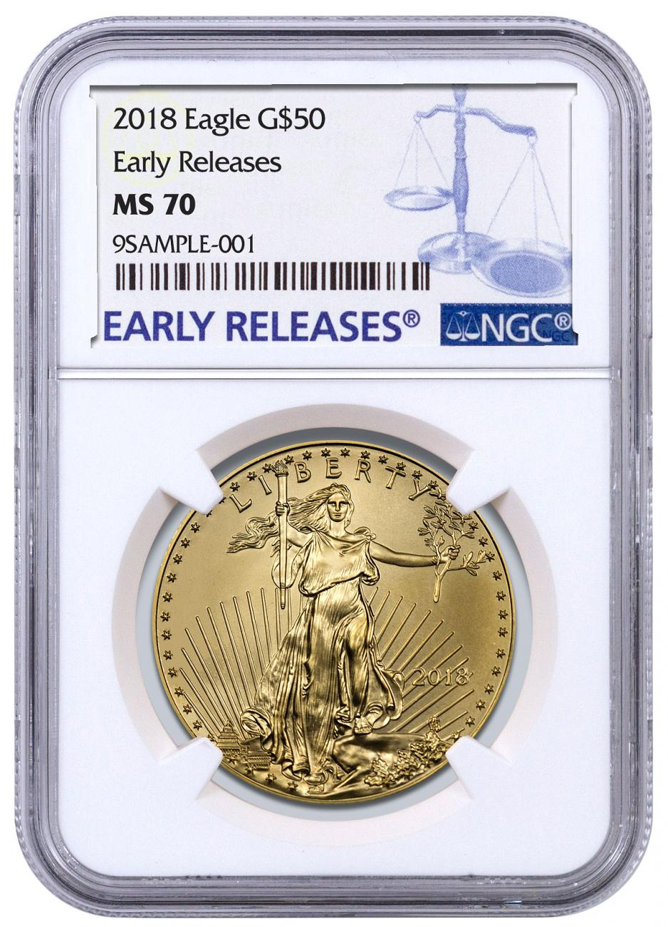2018 1 oz Gold American Eagle $50 NGC MS70 ER