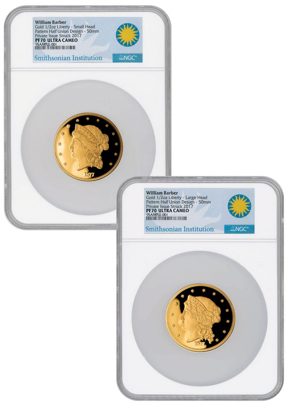 2-Medal Set - (2017) William Barber 1877 Half-Union Pattern 1/2 oz Gold Proof Medal Scarce and Unique Coin Division NGC PF70 UC
