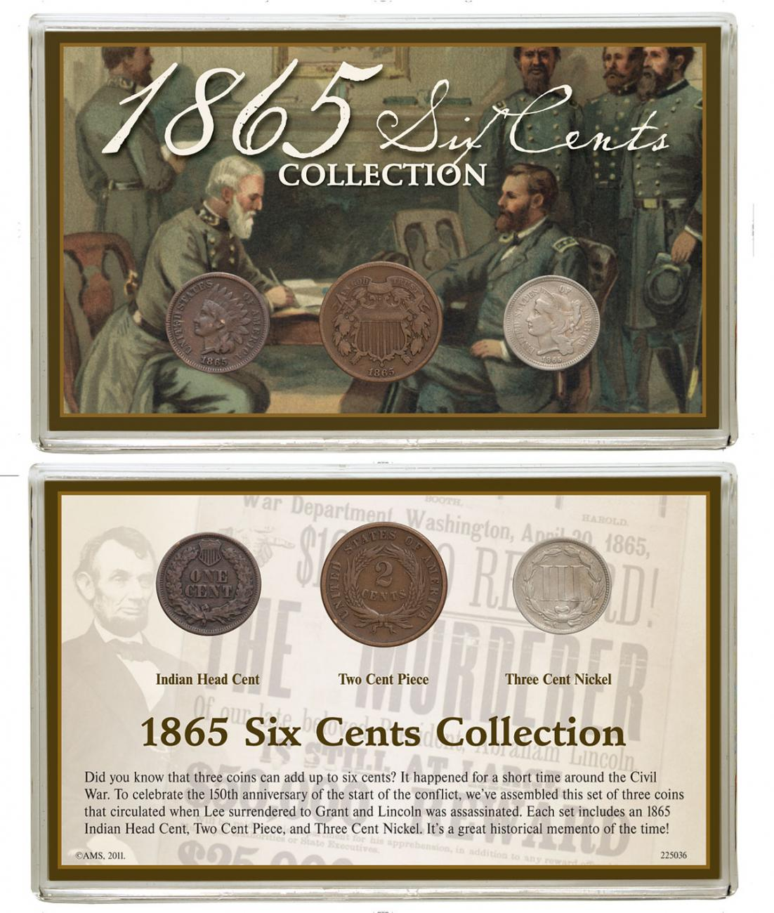 3-Coin Set - 1865 Six Cents Collection Good-Fine