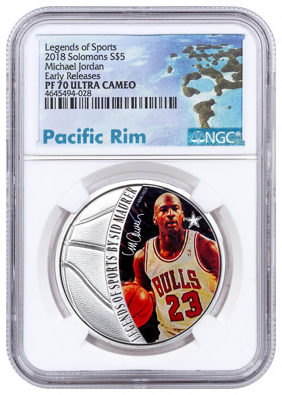 2018 Solomon Islands Legends of Sports - Michael Jordan 1 oz Silver Colorized Proof $5 Coin NGC PF70 UC ER Exclusive Pacific Rim Label