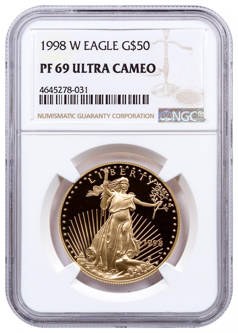 1998-W 1 oz Gold American Eagle Proof $50 NGC PF69 UC