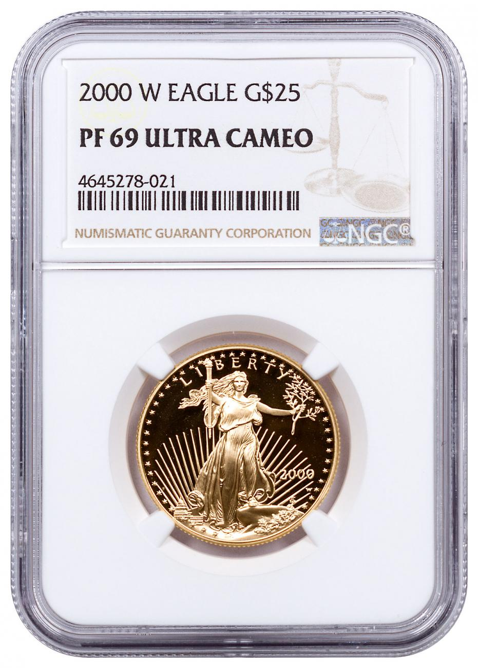 2000-W 1/2 oz Gold American Eagle Proof $25 NGC PF69 UC