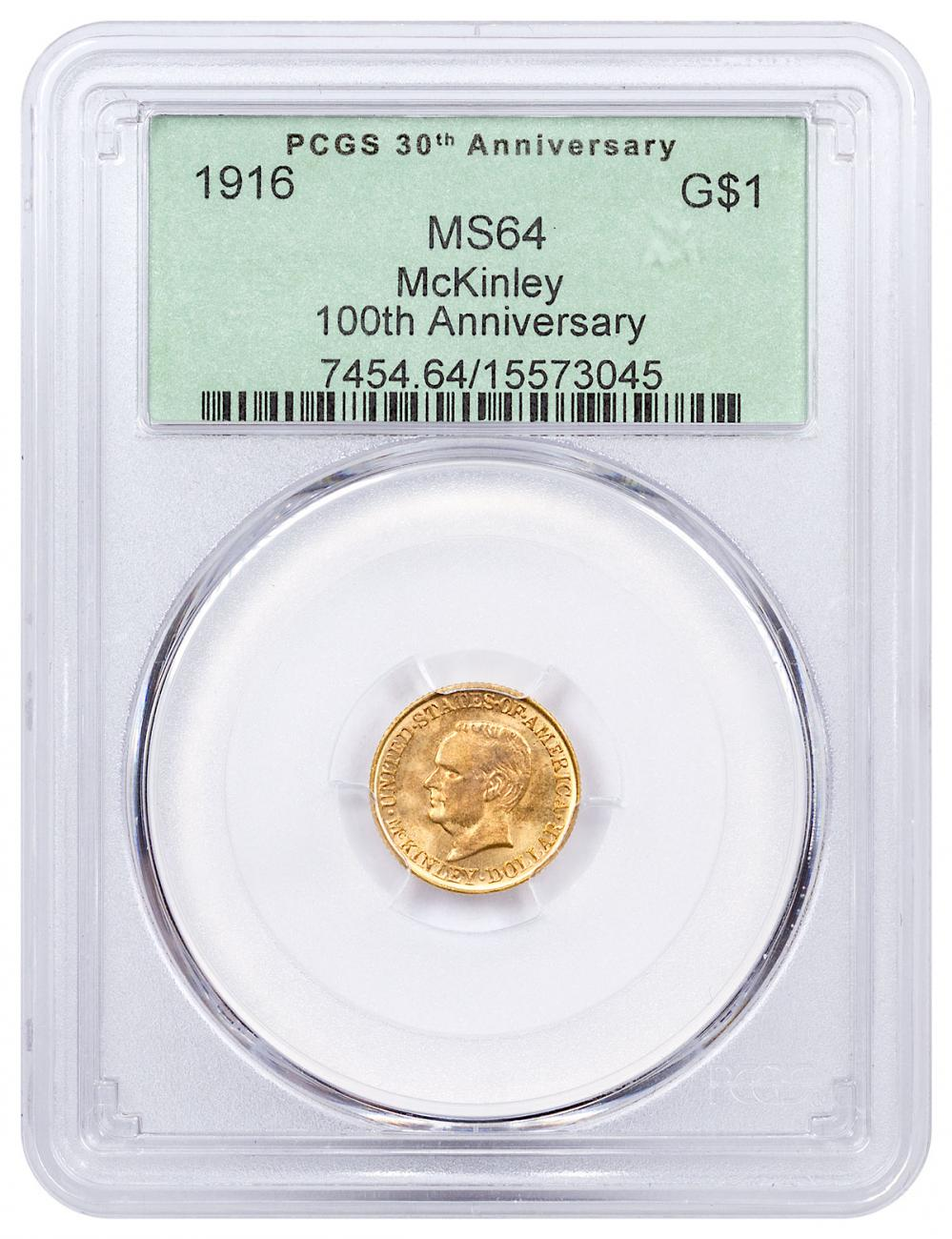 1916 McKinley Dollar $1 Gold Commemorative Coin PCGS MS64 100th Anniversary Green Label
