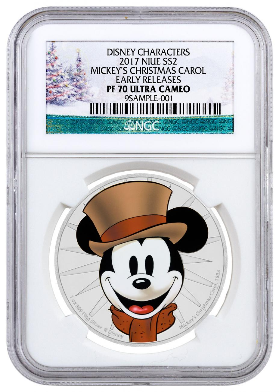 2017 Niue Mickey Through the Ages - Mickey's Christmas Carol 1 oz Silver Colorized Proof $2 Coin NGC PF70 UC ER Holiday Label