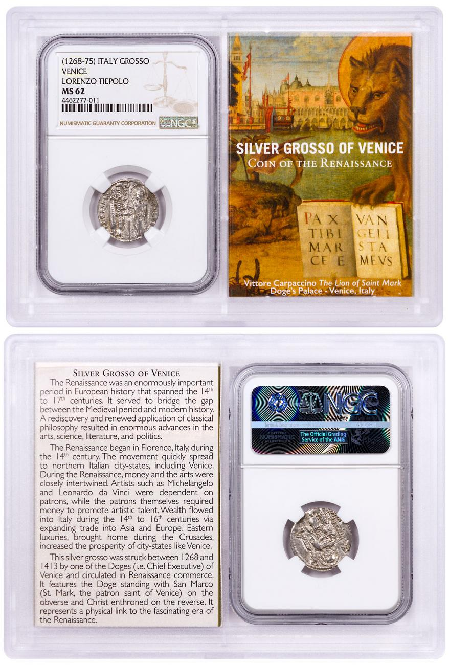 1268-1413 Italy Silver Grosso Venice-Renaissance- NGC MS62 Story Vault