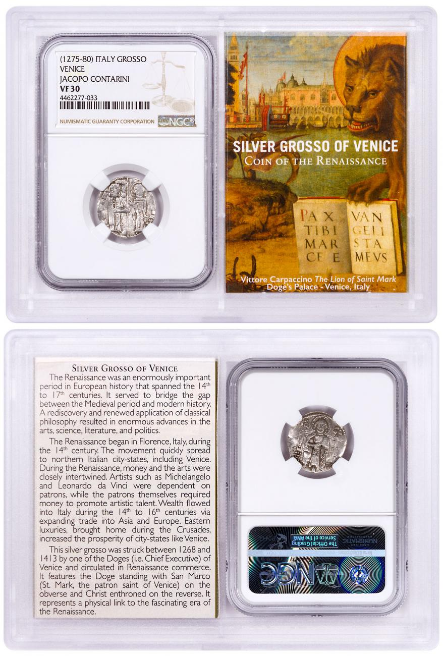 1268-1413 Italy Silver Grosso Venice-Renaissance- NGC VF30 Story Vault