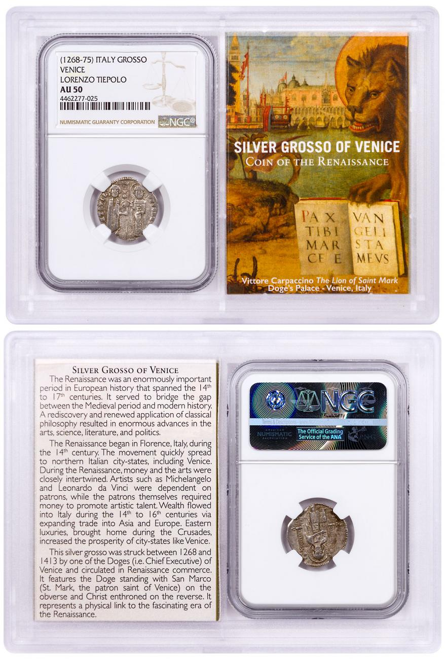 1268-1413 Italy Silver Grosso Venice-Renaissance- NGC AU50 Story Vault