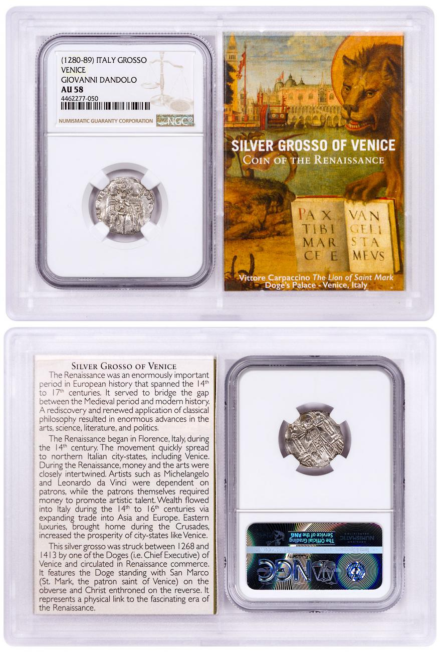 1268-1413 Italy Silver Grosso Venice-Renaissance- NGC AU58 Story Vault