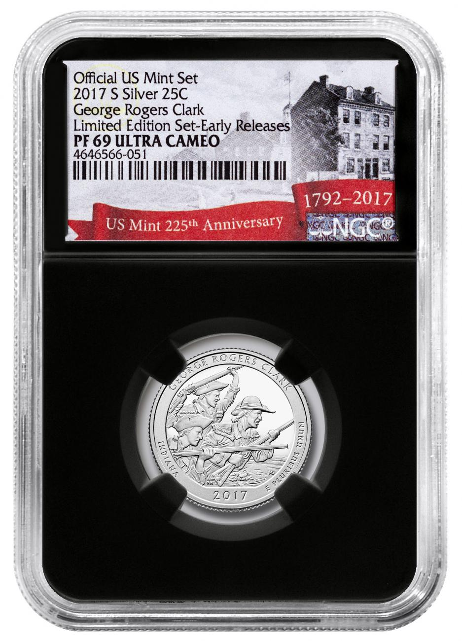 2017-S Silver George Rogers Clark National Historical Park Proof America the Beautiful Quarter From Limited Edition Silver Proof Set NGC PF69 UC ER Black Core Holder Exclusive U.S. Mint 225th Anniversary Label