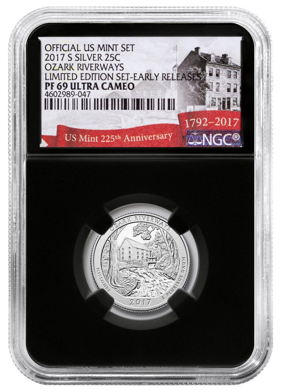 2017-S Silver Ozark National Scenic Riverways Proof America the Beautiful Quarter From Limited Edition Silver Proof Set NGC PF69 UC ER Black Core Holder Exclusive U.S. Mint 225th Anniversary Label