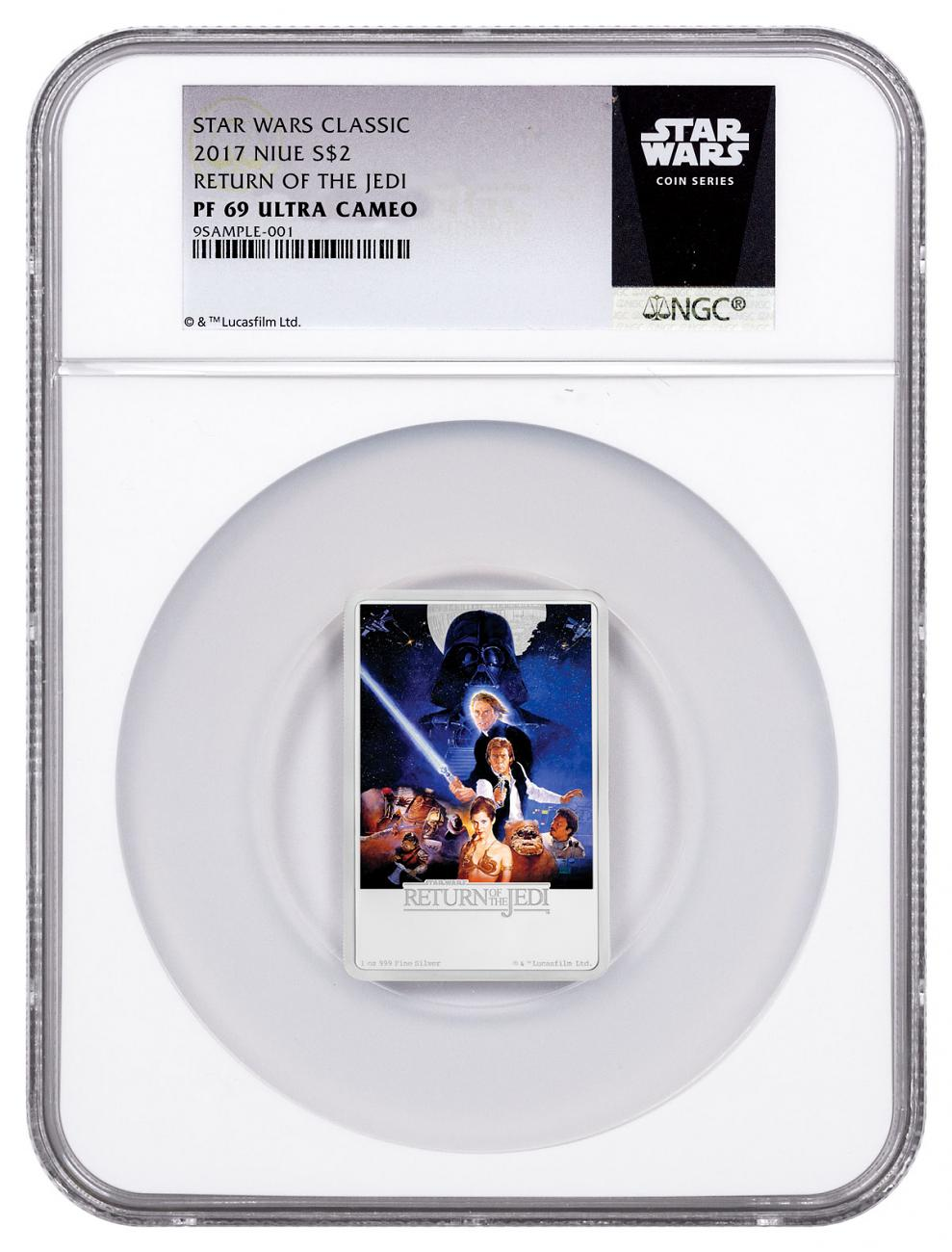 2017 Niue Star Wars Posters - Return of the Jedi Rectangle 1 oz Silver Colorized Proof $2 Coin NGC PF69 UC Exclusive Star Wars Label