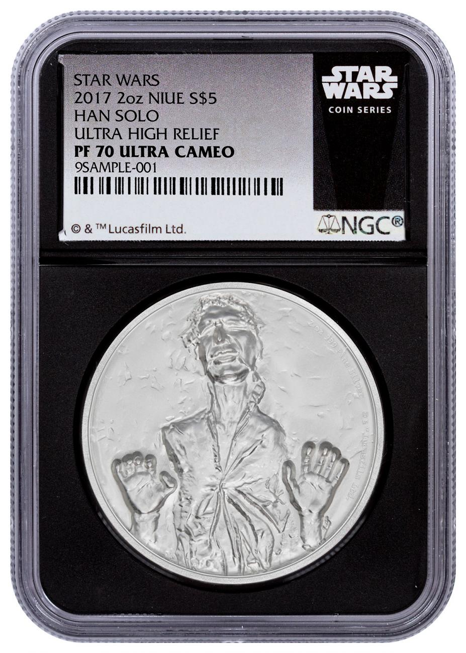2017 Niue Star Wars Classic - Han Solo Ultra High Relief 2 oz Silver Proof $5 Coin NGC PF70 UC Black Core Holder Exclusive Star Wars Label
