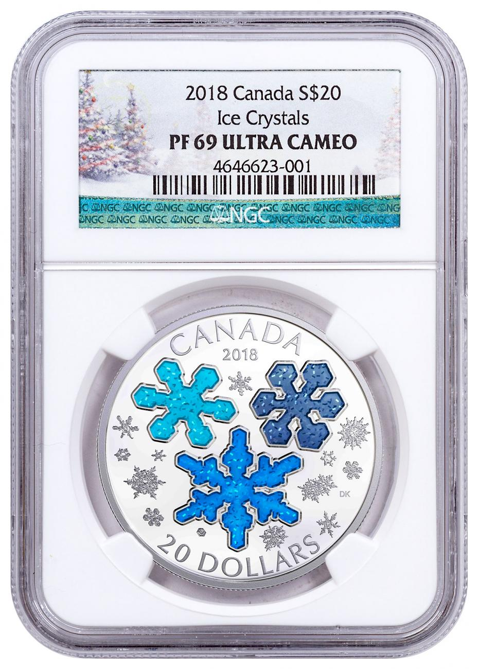 2018 Canada Ice Crystals 1 oz Silver Enameled Proof $20 Coin NGC PF69 Holiday Label