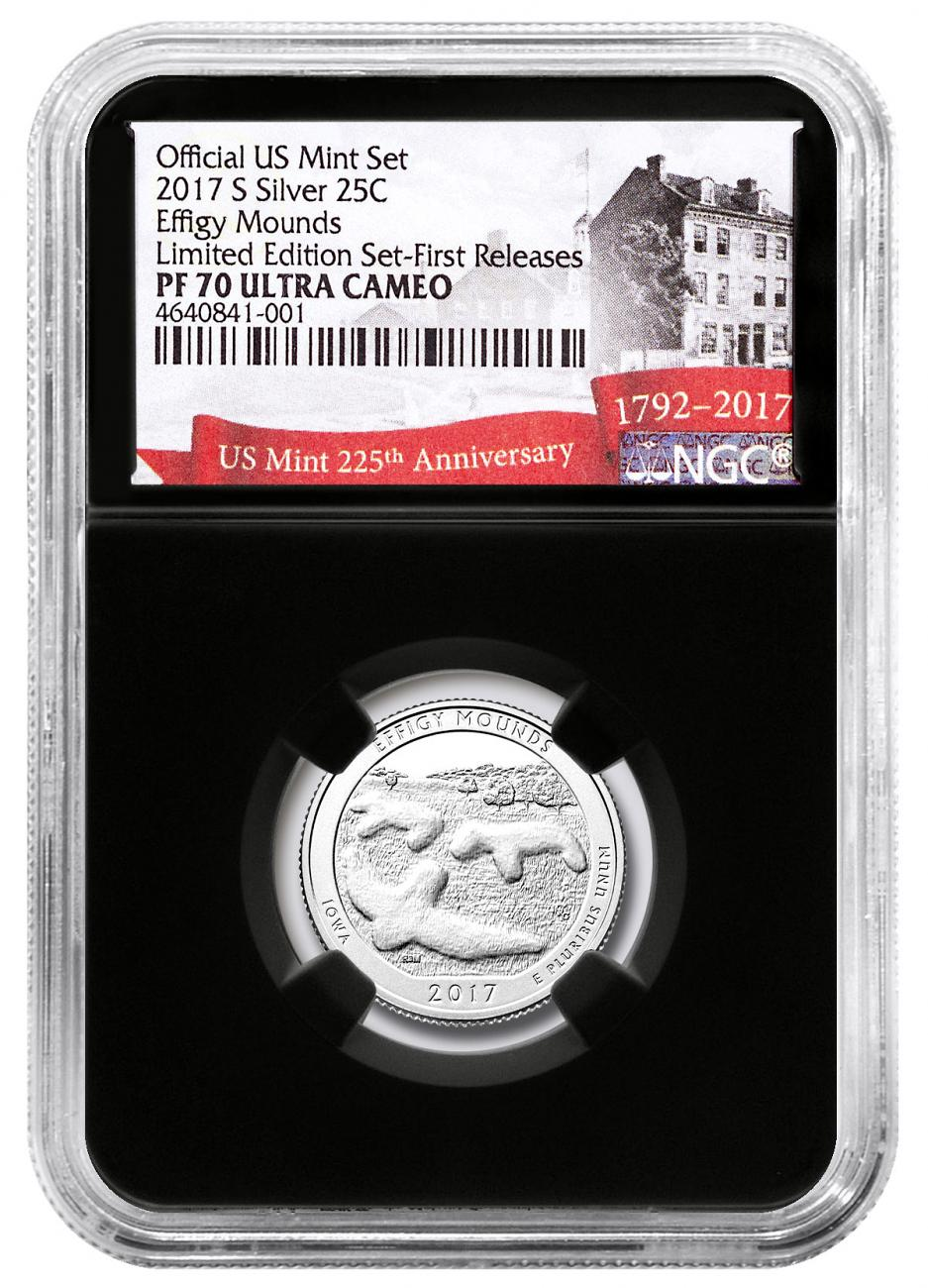 2017-S Silver Effigy Mounds Proof America the Beautiful Quarter From Limited Edition Silver Proof Set NGC PF70 UC FR Black Core Holder Exclusive U.S. Mint 225th Anniversary Label