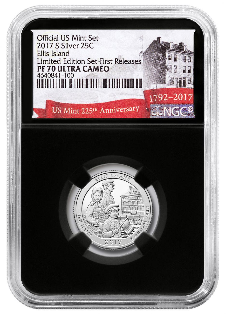 2017-S Silver Ellis Island National Monument Proof America the Beautiful Quarter From Limited Edition Silver Proof Set NGC PF70 UC FR Black Core Holder Exclusive U.S. Mint 225th Anniversary Label
