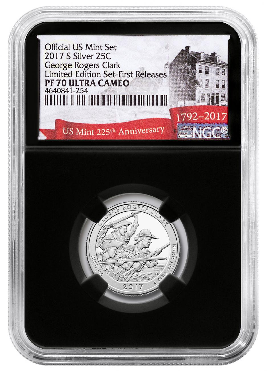 2017-S Silver George Rogers Clark National Historical Park Proof America the Beautiful Quarter From Limited Edition Silver Proof Set NGC PF70 UC FR Black Core Holder Exclusive U.S. Mint 225th Anniversary Label