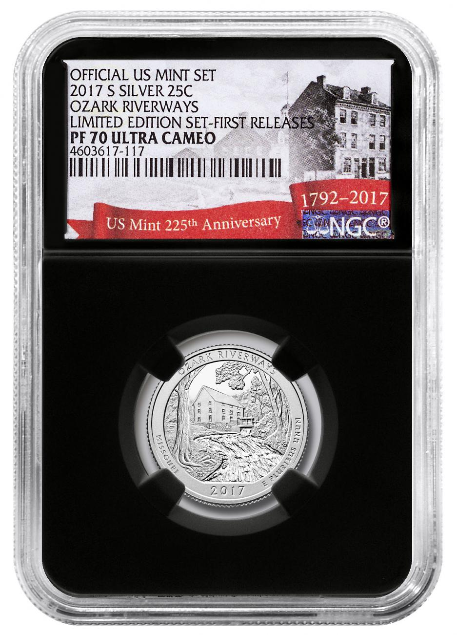 2017-S Silver Ozark National Scenic Riverways Proof America the Beautiful Quarter From Limited Edition Silver Proof Set NGC PF70 UC FR Black Core Holder Exclusive U.S. Mint 225th Anniversary Label
