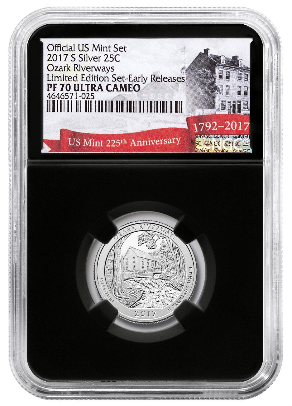 2017-S Silver Ozark National Scenic Riverways Proof America the Beautiful Quarter From Limited Edition Silver Proof Set NGC PF70 UC ER Black Core Holder Exclusive U.S. Mint 225th Anniversary Label