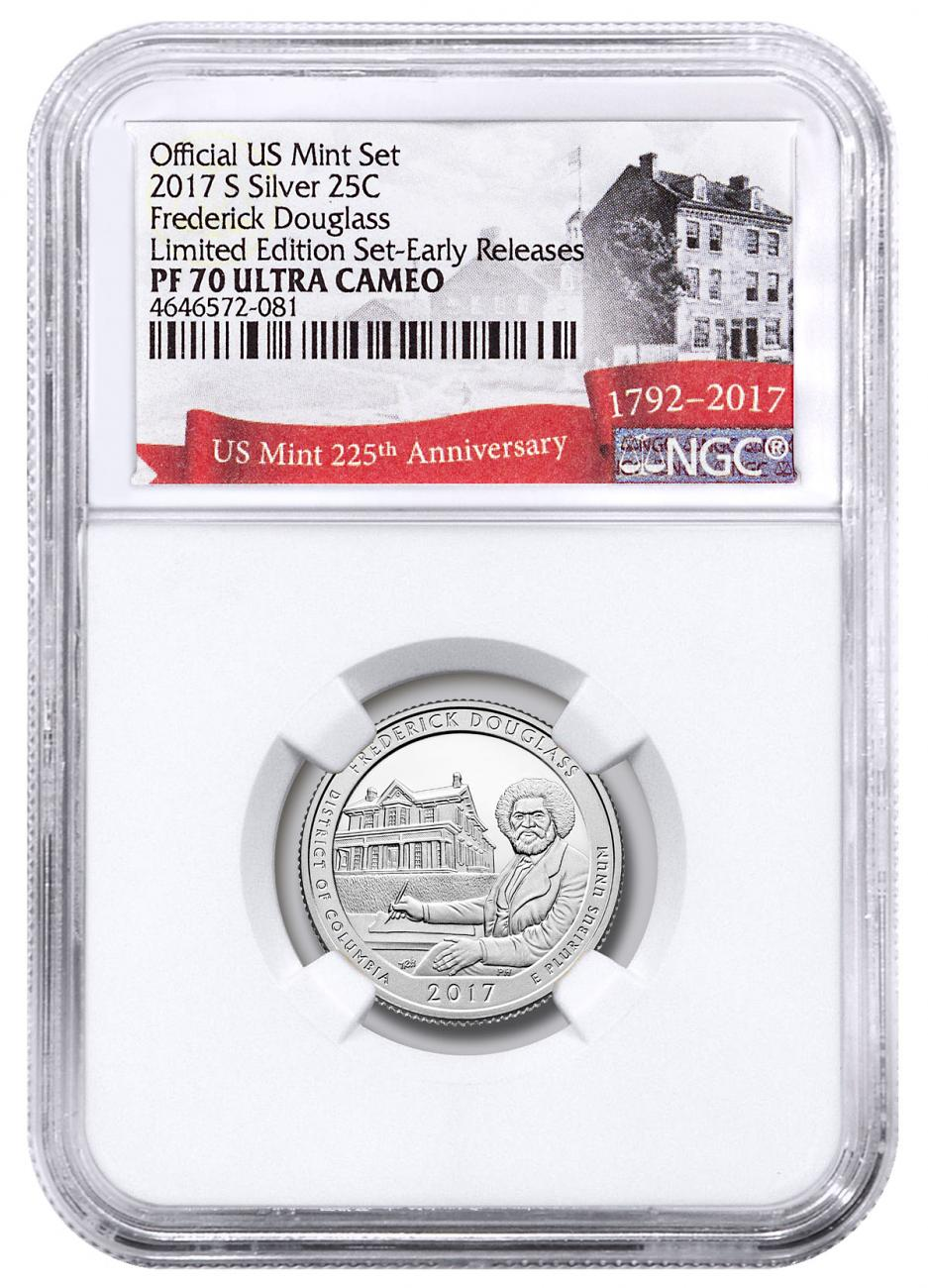 2017-S Silver Frederick Douglass National Historic Site Proof America the Beautiful Quarter From Limited Edition Silver Proof Set NGC PF70 UC ER Exclusive U.S. Mint 225th Anniversary Label
