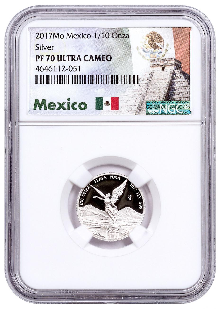 2017 Mexico 1/10 oz Silver Libertad Proof Coin NGC PF70 UC Exclusive Mexico Label