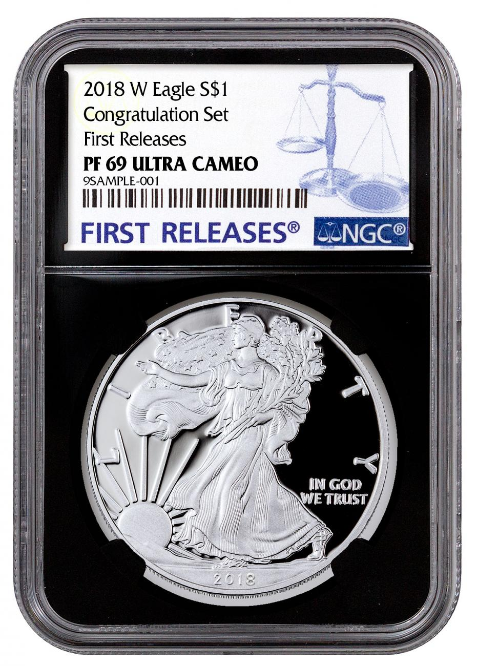 2018-W Proof American Silver Eagle Congratulations Set NGC PF69 UC FR Black Core Holder