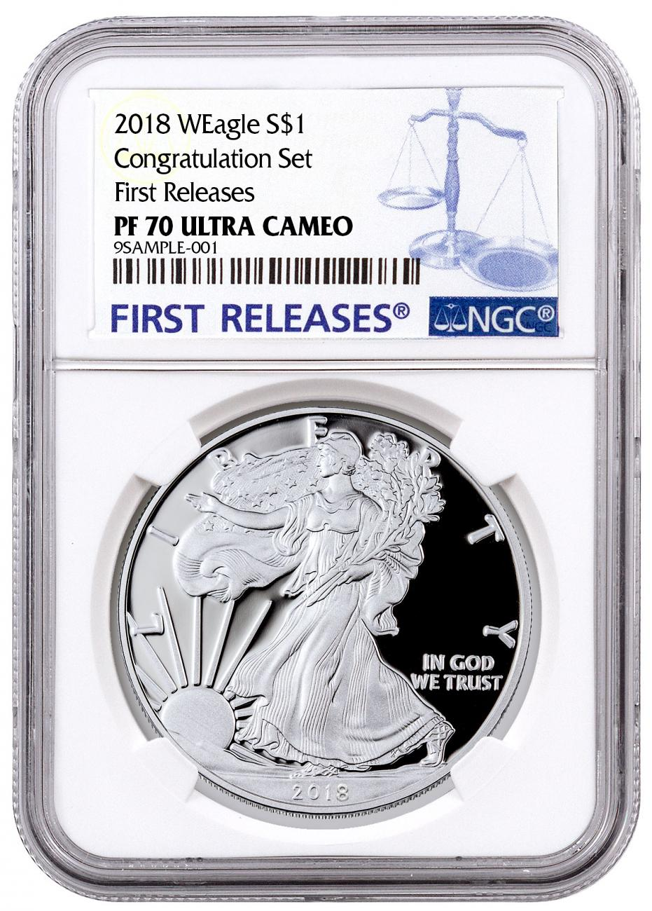 2018-W Proof American Silver Eagle Congratulations Set NGC PF70 UC FR